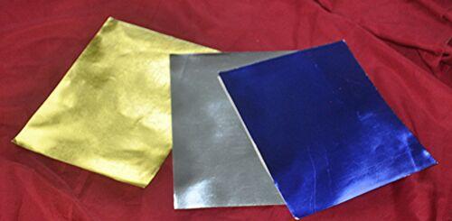 """VTG 1960S GERMAN CRAFT FOIL OVR PAPER  UNUSED 3 SHEETS GOLD, SILVER, BLUE 11.5"""""""