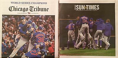Chicago Tribune   Chicago Suntimes Cubs Win The World Series Newspapers  11 3 16