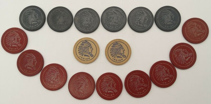 17 Vintage Native American Indian Head Casino Poker Chips - Red, Blue, White