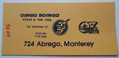 RARE OINGO BOINGO 1982 UNUSED CONCERT TICKET OZ MONTEREY CA. EDDIE & THE TIDE