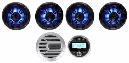 Memphis Audio Marine Gauge Bluetooth Receiver+ LED Speakers+