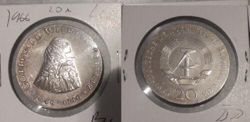 1966 DDR East Germany Large silver 20 Marks-Leibniz-UNC