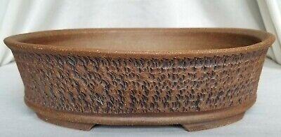 Pot # 310 Oval w/ Texture and Iron Oxides Bonsai Planter Handmade -