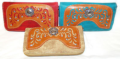 Around Crystal - Ladies Western Zip-Around Wallet With Concho and Crystal Trim