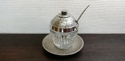 Vintage Mustard-Pot Metal Glass Kitchenware Moscow USSR Soviet UK
