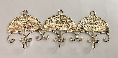 Vintage Large iron 3 hook scallop shell wall hanger 25.75