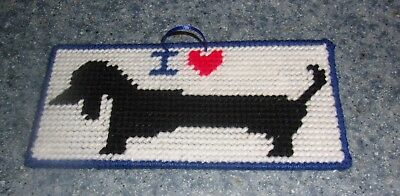 Brand New Handmade Needlepoint I Love Black DACHSHUND Sign 4 Dog Rescue Charity for sale  USA