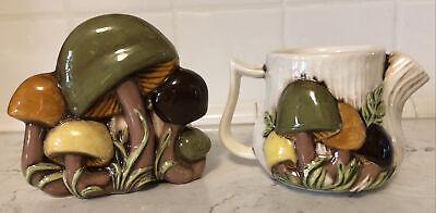 VTG Arnels Glazed Ceramic Handpainted 1975 Mushroom Napkin Holder & Creamer Set