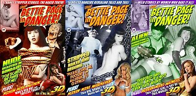 Bettie Page In Danger Comic Book Set Lot Issue #1 2 3 Pin-Up Photo Art in 3-D ()