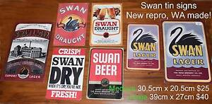 vintage style SWAN LAGER beer tin SIGNS man cave bar retro art Warnbro Rockingham Area Preview