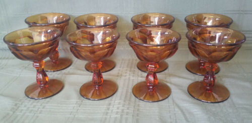 "Vintage Amber Imperial Glass ""Old Williamsburg"" Champagne/Sherberts (Set of 8)"