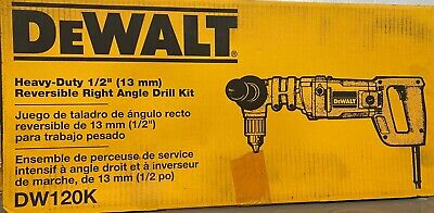 New Dewalt 12 Right Angle Revers. Drill Kit Heavy Duty Dw120k Save Big