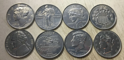 "8 REPLICA BIG HUGE GIANT JUMBO 3"" COINS paperweight dime quarter dollar nickel +"