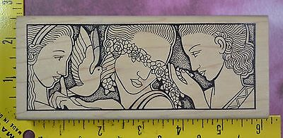 THREE SISTERS by JUDIKINS 2285 H women dove flowers Art Deco rubber stamp