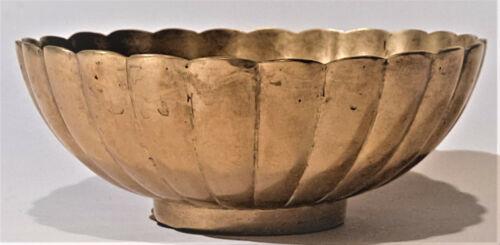 Korean Bronzeware Bronze Bangjja Yugi Scalloped Edge Footed Bowl HandMade Signed
