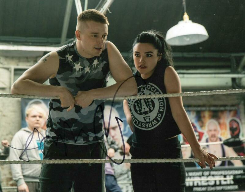 FLORENCE PUGH JACK LOWDEN SIGNED 8X10 PHOTO WWE PAIGE FIGHTING WITH MY FAMILY
