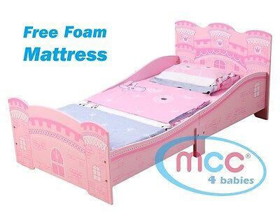 """MCC Girls Pink Castle Princess Junior Toddler Kids Bed & 3"""" Mattress Made in UK"""