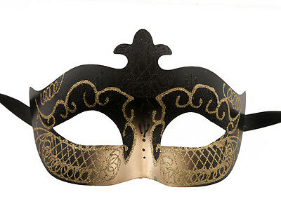 Mask Venetian Colombine Black & Gold Evening Party 1st Price 1286 V76