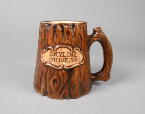 Treasure Craft Mug Ceramic Wood Look Skyline Drive Souvenir Mug 1970
