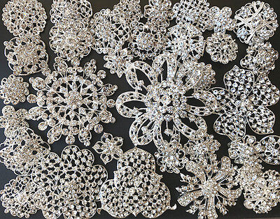 32 pcs Mixed Sliver Rhinestone Crystal Button Brooch Wedding Bouquet DIY Kit Lot