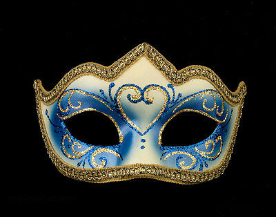 Mask Venetian Wolf Blue Golden Colombine a Tip Hallmarked a Venice 1195 V62