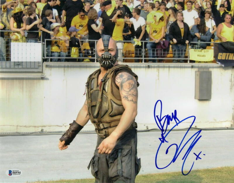TOM HARDY SIGNED 11X14 PHOTO THE DARK KNIGHT RISES BANE INSCRIPT AUTO BECKETT