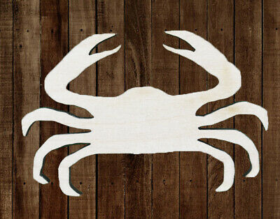 CRAB Unfinished Wood Cutout DIY Crafts Door Hanger Paintable Wreath Beach Sea