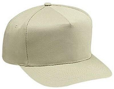 Cotton Twill Five Panel Pro Style Caps, Khaki Pro Style Cotton Twill Cap