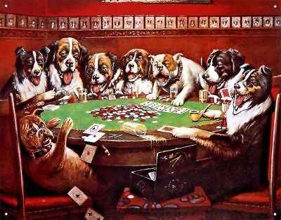 Dogs Playing Poker Picture Poster Metal Sign Funny Game Room Card Bar Cave Gift