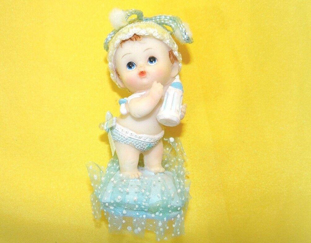 Dekofigur Baby Hund Blau Tortenaufsatz Tortenfigur Geburt Taufe Baby Shower
