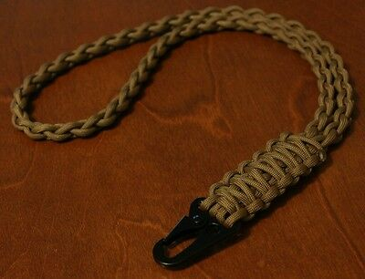550 Paracord Neck Lanyard / ID Keychain  / Coyote Brown / HK Style Clip