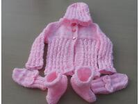 Pink Mattinee Jacket Baby Set 0-3 Months.
