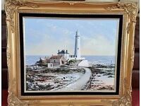 dallas taylor original oil painting of whitley bay in gold ornate frame