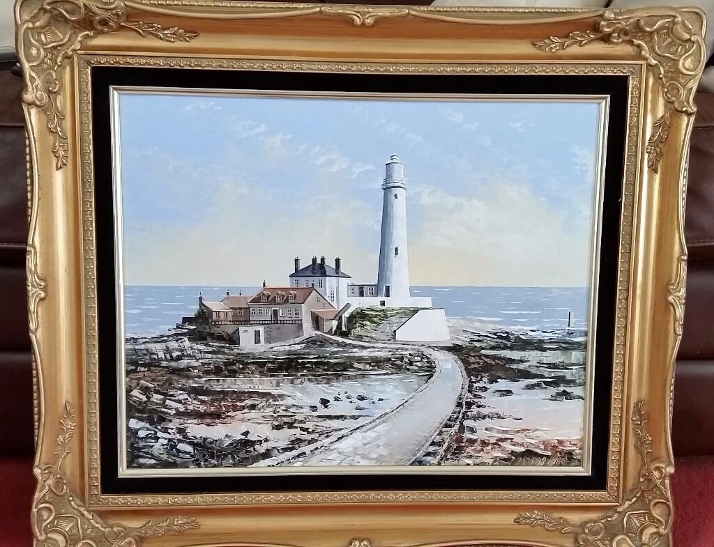 oil painting in gold swept frame of whitley bay by dallas k taylor ...