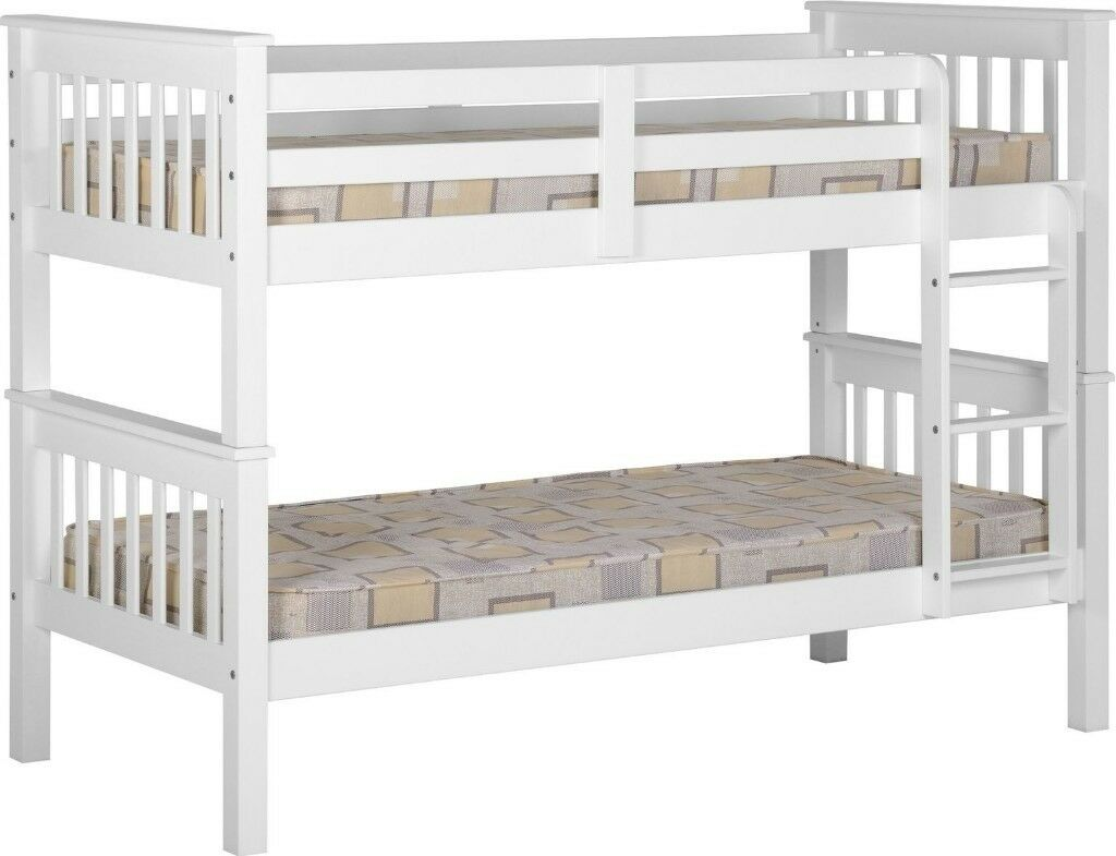 Cheapest Price Ever Brand New White Wooden Bunk Bed Bunkbed