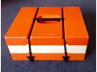 Vintage Retro 60s 70s Pac-A-Pic Stacking Picnic Set Camper Van Orange & White