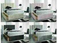 Instant Delivery Bed / Matching Button/diamante Headboard Single Double King Superking 3posjb