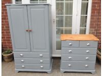 Shabby Chic Pine Wardrobe & Chest of Drawers