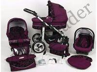 Silver 3 in 1 Pram Pushchair Stroller Travel System Purple