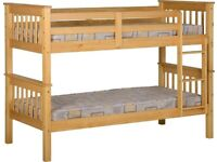 Kids Bed New Single Wooden Bunk Bed In Multi Colors With Optional Mattress