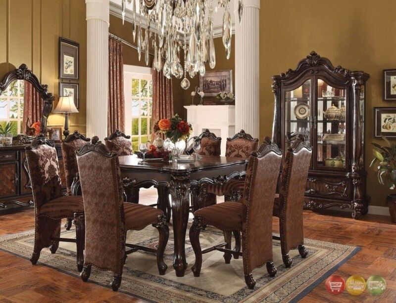 "Versailles 6 Piece Formal Dining Room Set 56"" Counter Height Table W/ Cabinet"