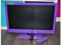 "22""PURPLE ALBA LED DVD HD FREEVIEW USB TV 6MONTH OLD CAN DELIVER"