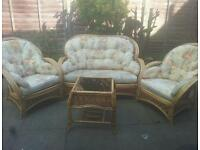 Bamboo sofa set. 4 piece perfect condition