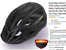 Bike Helmet Unisex with Rechargeable Light - Adult 54-63cm
