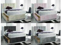 Luxury Crushed Velvet Drawer Storage Divan Bed Mattress Headboard and Delivered Same day