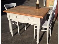 Smaller pine kitchen table with 2 chairs hand painted Farrow & Ball shade