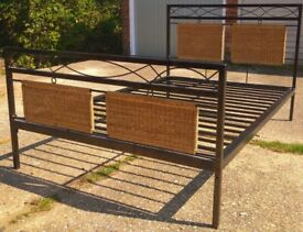 Heavy metal double bed with mattress if you want it ,can deliver