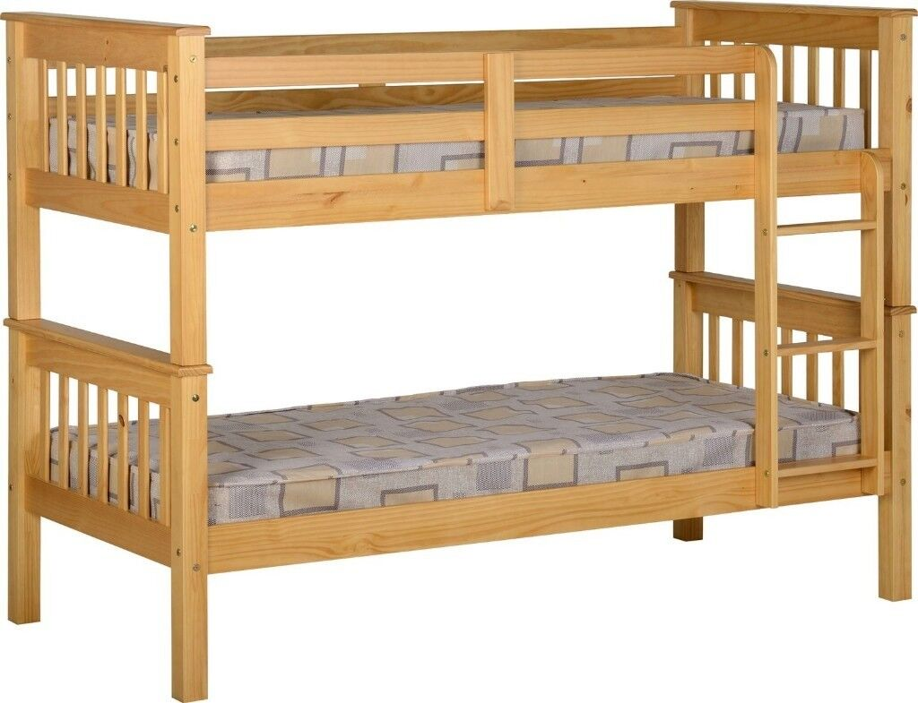 Same Day Cash On Delivery Brand New Single Oak Or Grey Wooden Bunk