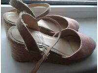 Pink Wedges with slight heel, size 6