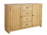 EX DISPLAY Porto 2 Door 4 Drawer Solid Wood Sideboard - Oak Effect